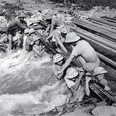 NVA Engineers erect a bridge on the Ho Chi Minh Trail – Photo, © Tran Phac