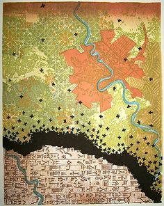 "LOCUSTS IN BABYLON  ""Japanese Woodblock Print""  Based on a satellite view/map of the area between the Tigris and Euphrates rivers that includes Baghdad, this print references the area called the Fertile Crescent, the biblical land of Babylonia. This is the place where the ancient Sumerians developed the earliest known form of writing, cuneiform. It's the place where the ruler named Hammurabi wrote some of the earliest known laws in the world, laws that underpin our own legal system ..."""