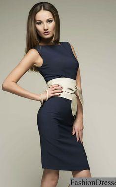 Navy Blue Dress.Knee Length Dress Formal. With Belt Women's Dress Evening.