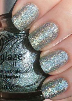 Shiny Sliver Glitter Nails.