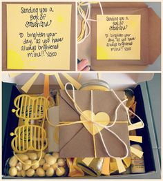 Send someone a box of sunshine to brighten their day! DIY care package for kids or adults. List of ideas and items you can include in a box of sunshine. Popular with the Poplins
