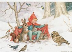 Margaret Tarrant Christmas Theres Room for You Elf Owl Rabbit Squirrel