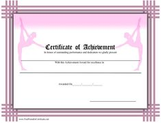 Dance certificate acro awards pinterest certificate dancing a printable certificate of achievement for ballet bordered in pink basketweave and featuring two ballerinas yelopaper Choice Image