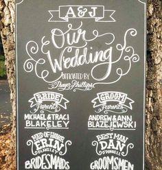 Chalkboard Sign // Wedding // Custom Made Ceremony Program Hand Drawn Sign // on Etsy, $175.00