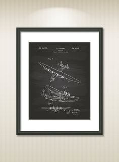 Airplane 1935 Patent Art Illustration - Drawing - Printable INSTANT DOWNLOAD - Get 5 Colors Background