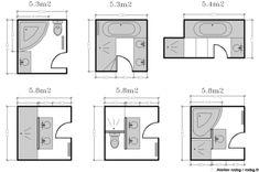 Salle De Bain M 家居 Pinterest Toilet Bathroom Layout - Plan salle de bain 3m2