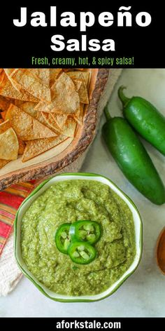 Jalapeno salsa is a flavorful spicy creamy salsa. Its creamy texture is created from roasted jalapenos, onions, and garlic that is combined with fresh cilantro, lime juice, and olive oil. This Mexican green sauce is great on chips or your favorite tacos! #salsa #jalapeno Best Appetizer Recipes, Best Appetizers, Mexican Food Recipes, Salad Recipes, Ethnic Recipes, Mexican Dinners, Appetizer Ideas, Potluck Recipes, Dip Recipes