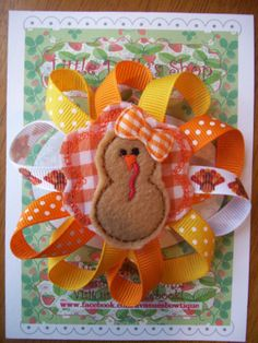 Thanksgiving Turkey Puff Grosgrain Ribbon Bow by LittleDollysShop, $6.00