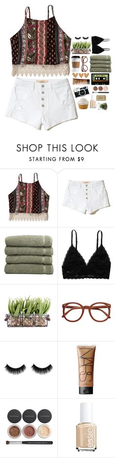 """little things"" by camillathebest ❤ liked on Polyvore featuring Abercrombie & Fitch, Hollister Co., Linum Home Textiles, Monki, NARS Cosmetics, Bare Escentuals and Essie"