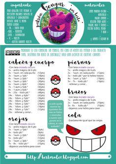 Patrones de amigurumis gratis paso a paso Pokemon Crochet Pattern, Crochet Geek, Crochet Animal Patterns, Crochet Doily Patterns, Crochet Dolls, Diy Crochet, Crochet Crafts, Doll Patterns, Pokemon Gengar