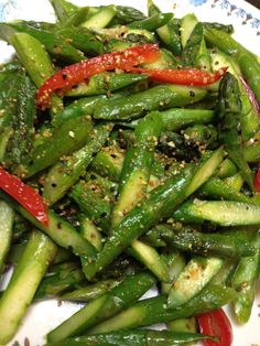 Asparagus with sweet red pepper