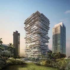 Swiss architects Herzog and de Meuron have designed this apartment tower with overhanging floor plates and terraces forBeirut, Lebanon. Created as part of a wider masterplan to regenerate this area of the city that includes a marina, the building will comprise five different modular floor slabs used in varying combinations to create a mixture of