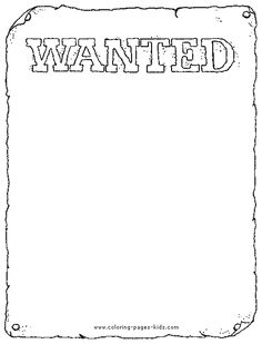 Wanted poster color page,  coloring pages, color plate, coloring sheet,printable coloring picture