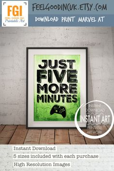 XBOX Controller Print - Just Five More Minutes - xbox art- xbox poster - xbox print - teen art- xbox room decor- video game art - controller by FeelGoodIncUK on Etsy