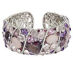 Judith Ripka Sterling 21.70 cttw Gemstones & Diamonique Cuff