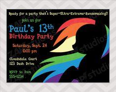 Rainbow Dash Birthday Party Invitation Printable by zapparty