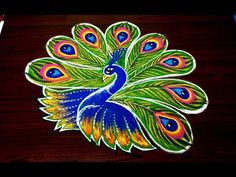 latest peacock innovative multicolor rangoli design || Beautiful kolam designs || simplerangoli - YouTube