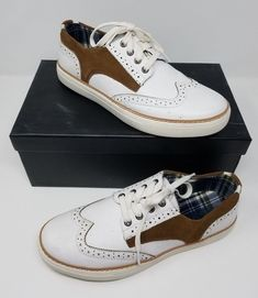 7f04db3dddf Joe s Waldo Leather Sneakers Saddle Shoes Mens 8.5 White Brown Style   JG705S13