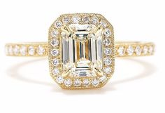GIA Certified 2.00 Carat Emerald Cut Diamond Engagement Ring 18K Yellow Gold #DiamondJewelersCo #SolitairewithAccents