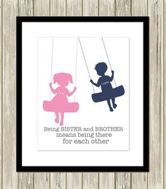 children Playroom Shared Bedrooms - Brother and sister wall art, siblings art, shared room decor boy girl art, brother sister quote, custom colors Boy And Girl Shared Room, Boy Girl Room, Sister Room, Brother Sister Quotes, My Bebe, Shared Bedrooms, Bathroom Kids, Shared Bathroom, Bathrooms