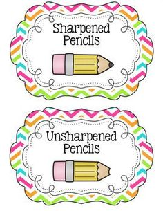 free chevron classroom labels with pictures | Chevron Pencil Bucket Labels