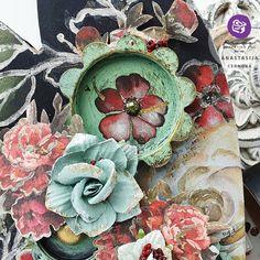 From Prima Marketing Inc design team member Anastasija @anastasijacernova Products used: 1) 636005 A4 Paper Pad-Midnight Garden 2) 964061 Art Alchemy – Sparks – Unicorn's Hair 3) 966423 Art Alchemy- Impasto Paint – Victorian Green 4) 651657 Diamond Collection SIIC 5) 961107 Mechanicals- Pendants 6) 643775 Redesign Décor Transfers® Midnight Floral 7) Glass beads 8) 961459 Art Basics – Heavy Gesso – Black 9) Diamond flowers Art Basics, Midnight Garden, Prima Marketing, A4 Paper, Team Member, Diamond Flower, Embellishments, Glass Beads, Floral Wreath