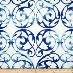 Screen printed on cotton; this versatile medium/heavyweight fabric is perfect for window accents (draperies, valances, curtains and swags), accent pillows, duvet covers and upholstery. Create handbags, tote bags, aprons and more. Colors include shades of blue on white.