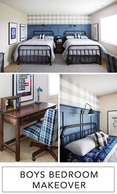Boys Bedroom Makeover with The RoomPlace - Sincerely, Sara D. - Love this boys bedroom makeover – the navy wall treatment and buffalo check wallpaper are perfect - Small Boys Bedrooms, Shared Boys Rooms, Kids Bedroom Boys, Boy Toddler Bedroom, Boys Bedroom Decor, Home Bedroom, Boy Room, Boys Bedroom Wallpaper, Bedroom Small