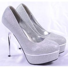 Pantofi de Dama Cinderella Silver Platform, Heels, Fashion, Heel, Moda, Fashion Styles, High Heel, Wedge, Fashion Illustrations