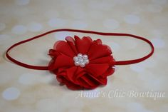 Red baby headband, Christmas Red hair accessory, baby girl photo prop, Flower hairbow, girl Headband, Holiday Season Children Headband by AnniesChicBowtique on Etsy