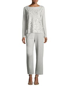 Stretch-Interlock Ankle Casual Pants  and Matching Items, Plus Size by Joan Vass at Neiman Marcus.
