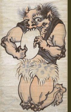 長沢芦雪筆 餅を食べる鬼 長沢 芦雪は、江戸時代の絵師。(1754-1799)円山応挙の高弟。