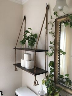 Wood and Rope Hanging Shelves in Expresso Stain- Bathroom Shelves- Small Bathroom Storage- Entry Way Shelves- Living Room Shelves - Home and Garden Decoration Top Bathroom Design, Diy Furniture, Small Room Design, Diy Hanging Shelves, Living Room Shelves, Home Decor, White Wash Stain, Home Diy, Hanging Shelves