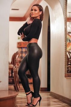 - Faux Leather Legging - Elastic Waistband - Skinny Leg - Made in USA - 90% Polyester 10% Spandex