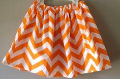 Girls Orange Chevron Skirt..Perfect for by Lucyslittleboutique, $7.99