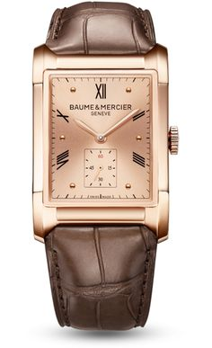 65102cbc52 Baume and Mercier Hampton Milleis Rose Gold Dial Brown Leather Mens Watch  M0A100 Swiss Luxury Watches
