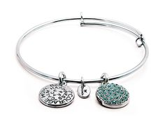 March, Bring good luck and inner peace. Aquamarine crystals. Rhodium plated brass expandable bangle.
