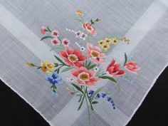Vintage Handkerchief with Embroidered Floral Bouquet | eBay