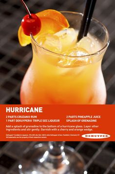 Hurricane drink 2 parts cruzan rum 1 part Dekuyper triple sec liqueur 2 parts pineapple juice Splash of grenadine Refreshing Drinks, Summer Drinks, Party Drinks, Cocktail Drinks, Hurricane Drink, Comida Boricua, Alcohol Drink Recipes, Rum Punch Recipes, Alcoholic Drinks With Pineapple Juice