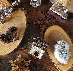 Line your holiday mantel with a selection of owls, cabins, and frosted pinecones. The color scheme of white, grey, and natural add a modern touch to heritage inspiration. [Rue La La Promotional Pin]