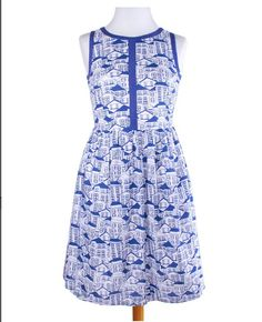 Sold to Jess! Blue Houses Summerfest Dress by Mata Traders, size L, BNWT, swap or $30 shipped