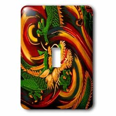 3dRose Oriental dragon abstract a fantasy art original, 2 Plug Outlet Cover