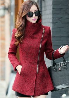 Red Plain Pockets Tweed Coat