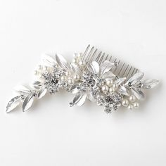 """The Willow"" Floral Pearl & Crystal Comb"
