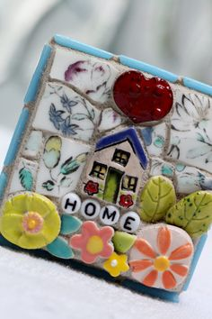 HOME Mosaic wall art by Lisabetzmosaicart on Etsy