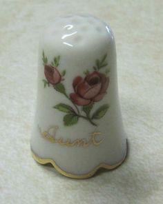 'Aunt' Vintage Porcelain Thimble New | eBay