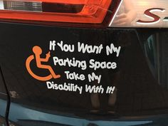 Take my disability vehicle sticker Sticker will stick to any smooth hard surface Choice of wheelchair and writing colour you can place wheelchair