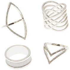Charlotte Russe Embellished Caged Rings - 4 Pack ($6) ❤ liked on Polyvore featuring jewelry, rings, silver, sparkle jewelry, charlotte russe rings, silver cage ring, band jewelry and silver rings