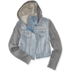Aeropostale Light Wash Pieced Denim Jacket ($40) ❤ liked on Polyvore featuring outerwear, jackets, light wash, aéropostale, jean jacket, aeropostale jackets, hooded jean jacket and denim jacket
