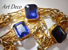 Art Deco Czech Bracelet Blue Vintage Rhinestone by RenaissanceFair
